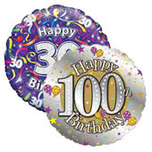 Age 30-100 Birthday Foil Balloons