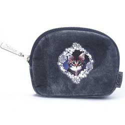 Kitten on Grey Velour Zip Purse