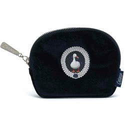 Duck on Navy Velour Zip Purse