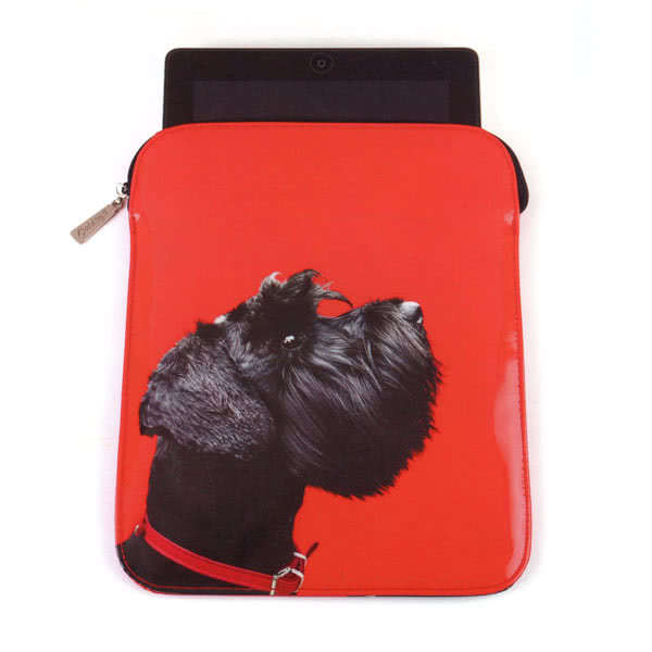 Catseye Terrier on Red iPad Sleeve