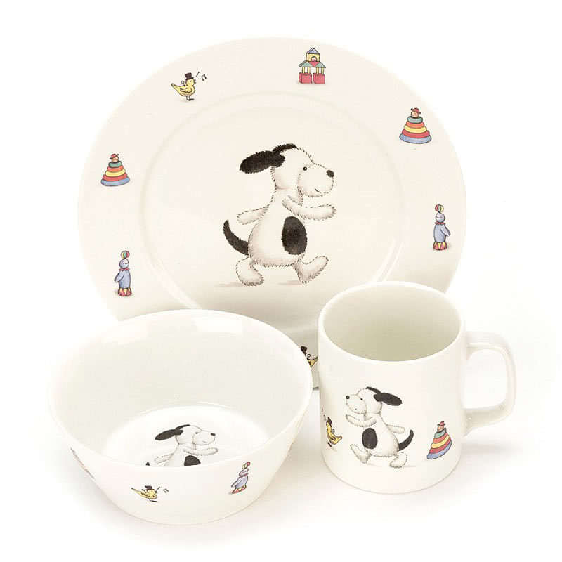 Little Jellycat Bashful Puppy Bowl Cup Plate Set