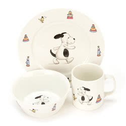 Bashful Puppy Bowl Cup Plate Set