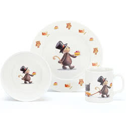 Bashful Monkey Ceramic Plate, Cup and Bowl Set