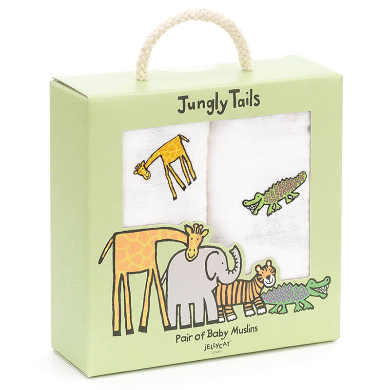 Little Jellycat Jungly Tails Pair of Muslins