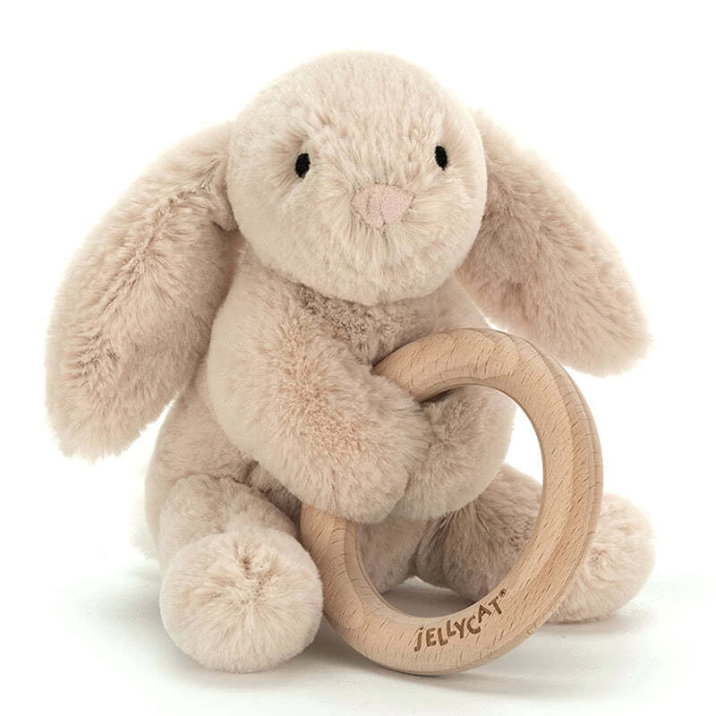 Little Jellycat Shooshu Bunny Wooden Ring Toy