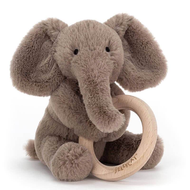 Little JellycatShooshu Elephant Wooden Ring Toy