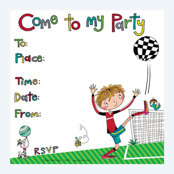 Rachel Ellen Footballer Party Invitation