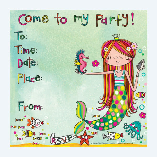 Rachel Ellen Mermaid Party Invitation