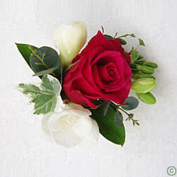 Wedding Corsage Red Rose Freesia